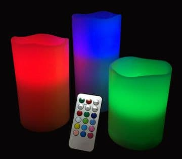 3 pcs REMOTE CONTROL COLOUR CHANGING flameless paraffin WAX CANDLES 10xAAAs inc